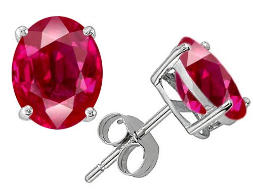 Original Star K(tm) Oval 8x6mm Created Ruby Earring Studs in .925 Sterling Silver