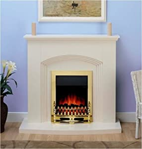 Modern Cream Electric Fire Surround Set Complete Fireplace Package Suite from Winther Browne