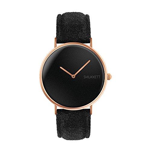 smukkett-watches-damen-armbanduhr-analog-quarz-flach-und-klassisch-in-rosegold-schwarz-mit-wildleder