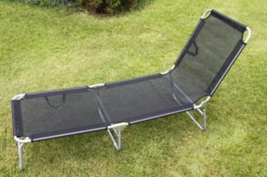 Folding Adjustable Sun Lounger Bed in Black / Silver