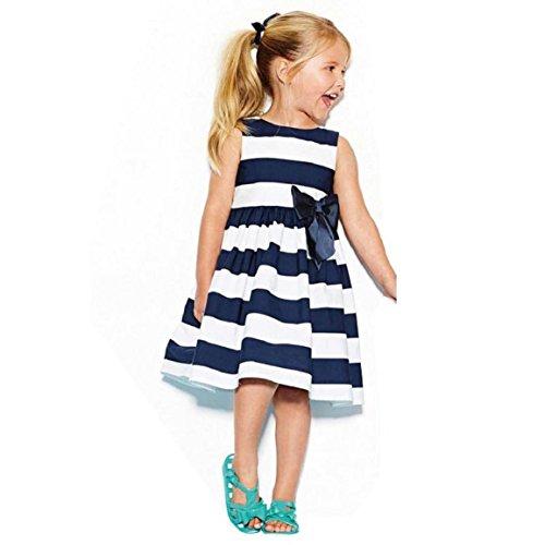 Culater® Niñas lindo raya del arco del verano de la princesa vestido (100)