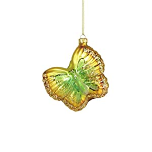 Sugared Fruit Glittered Gold Glass Butterfly Christmas Ornament 3.5""