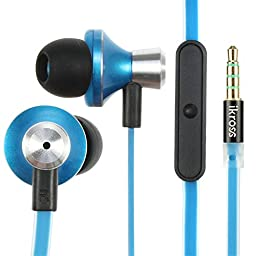 3.5mm Headset - iKross In-Ear 3.5mm Noise-Isolation Stereo Earbuds Headphones with Microphone - Metallic Blue