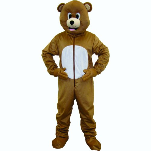Dress Up America Bear Mascot, Brown, Adult One Size