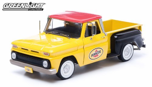 1965-chevy-c-10-stepside-truck-pennzoil-1-18-yellow-by-collectable-diecast