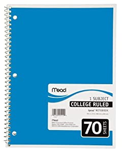 Mead Spiral Notebook, 1-Subject, 70-Count, College Ruled, Light Blue (05512)