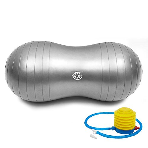 ROUTESUN Anti-Burst Peanut Ball,Gym ball, Swiss Stability Ball, Including a Free Foot Pump, for Labor, Physical Therapy, Fitness, and Exercise (Sliver Grey, 50100 cm)