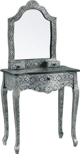 Beautiful Silver Embossed Metal Dressing Table with Mirror