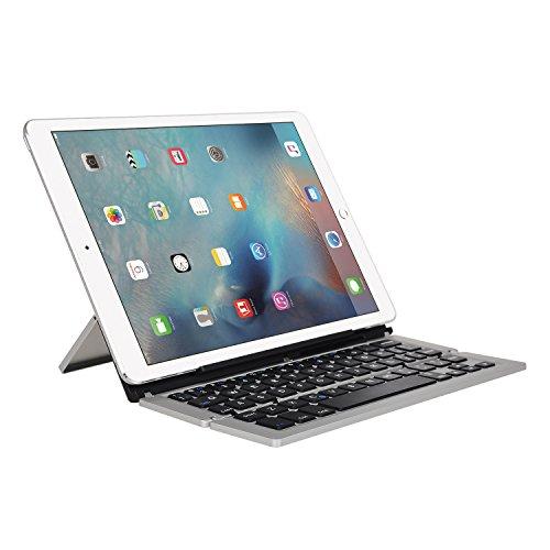 タブレットキーボードIVSOスマホキーボード 超薄型 キーボードカバー Bluetooth接続キーボード 内蔵アルミケース ipad pro 9.7/ipad air 2/ipad mini 4,iphone se/5s/6s/6s plus, Samsung Galaxy Tab S 10.5/ Samsung Galaxy S7,ASUS ZenFone Max ZC550KL/Asus Zenfone Go ZB551KL, Lenovo ThinkPad 8/Lenovo Tab2 501LV / SoftBank Tab 2等すべてのIOS,Android,Windowsシステムに適応(シルバー)