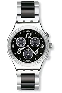 Swatch Men's YCS485G Quartz Chronograph Stainless Steel Black Dial Watch