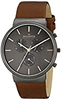 Skagen Men's SKW6106 Ancher Stainless Steel Watch with Brown Leather Band from Skagen