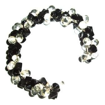 Tribe Black and white flexible bead bracelet (one size fits all)