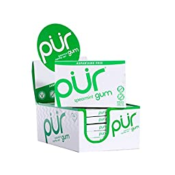 PUR Gum Aspartame Free Spearmint Gum, 9 Count (Pack of 12)