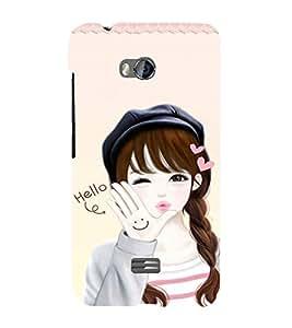 EPICCASE Girls says hello Mobile Back Case Cover For Micromax Q336 (Designer Case)