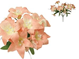 70 tiger lily silk wedding flowers decorations wholesale for Decorate with flowers amazon