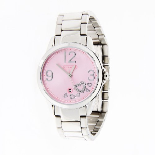 Coach women's Classic watch Pink Dial Stainless Steel Bracelet 14501223