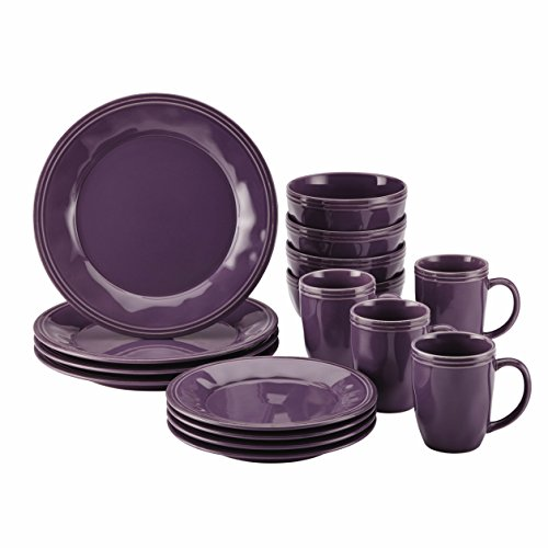 Rachael Ray 16-Piece Cucina Stoneware Dinnerware Set, Lavender/Purple (Kitchen Ware Purple compare prices)
