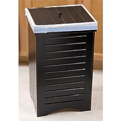 Black Wooden Kitchen Trash Bin Garbage Can