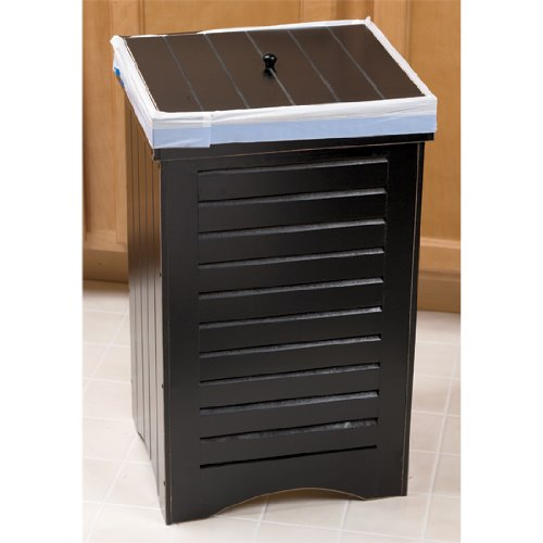 Black Wooden Kitchen Trash Bin Garbage Can