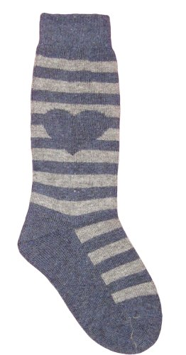 MeMoi Girls Striped Sweatheart Knee Sock