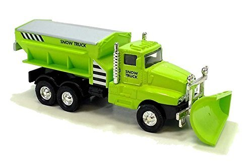 "6"" Cool Lime Green Diecast Snow Plow Salt Truck with pull back and go action - 1"