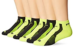 Puma Socks Men's 6 Pack 1/2 Terry Form Stripe Low Cut Socks, Yellow, 10-13/Shoe Size 6-12