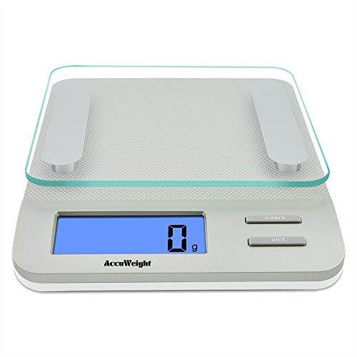 Accuweight digital Multifunction Kitchen and Food Scale, 11lb/5kg Capacity by 0.1oz/1g, Tempered Glass Platform, Silver