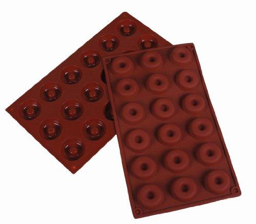 Jade Onlines 18-Cavity Adorable Mini Donut Shaped Ice/Cake/Chocolate/Sugar Decorating Silicone Mini Cube Craft Fondant Mold Tray(Send By Random Colour)