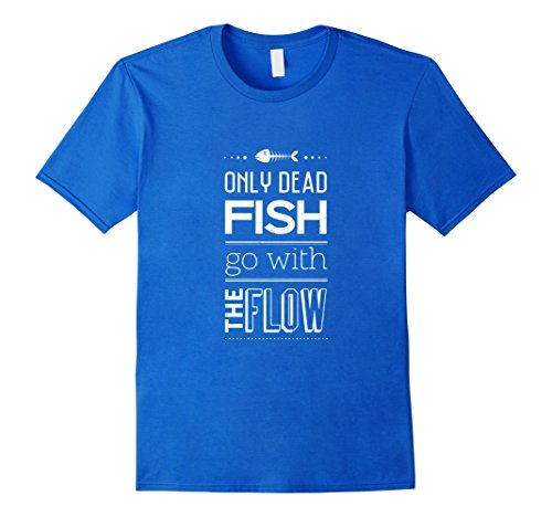 Men's Only Dead Fish Go With The Flow T-Shirt Unisex Shirt Medium Royal Blue