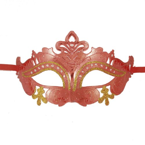Como Ladies Powder Eyes Red Plated Plastic Rhinestone Detail Half Face Mask