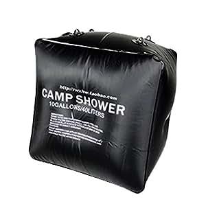 40L 10 Gallons Black Foldable Solar Camping Camp Shower Bathing Bag