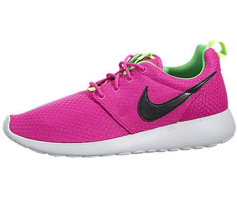 Nike Rosherun (GS) Girls Running Shoes 599729-607 Hot Pink Black-Light Green Spark-Pure Platinum 5 M US (Light Pink Roshe Run compare prices)