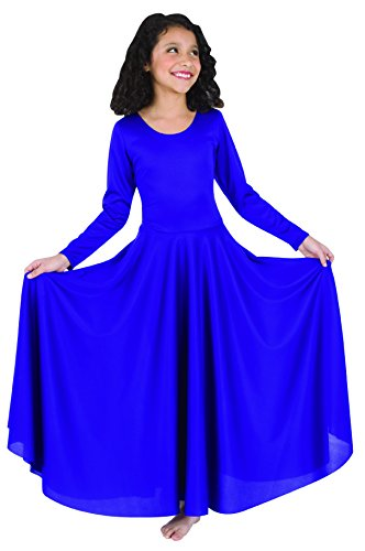 Body Wrappers Little Girls LNGSLV DRESS (0588) -BRIGHT ROYAL -4-6
