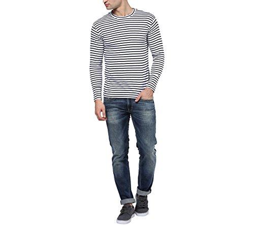 Hypernation-Blue-and-White-Stripe-Round-Neck-Cotton-T-shirt-For-Men