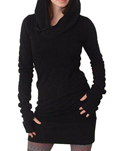 Minetom-Femmes-Manche-Longue-Sweat--Capuche-Bodycon-Chandail-Chemise-Mini-Robe-Longues-Chemises-Pullover