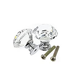 Decize Crystal Glass 30mm Diamond Shape Drawer Knob Crystal Cupboard Handle 10PCS