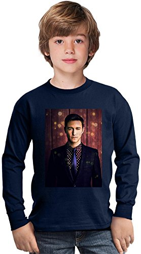 Joseph Gordon Levitt Portrait Amazing Kids Long Sleeved Shirt by True Fans Apparel - 100% Cotton- Ideal For Active Boys-Casual Wear - Perfect For A Present Unisex 5-6 years