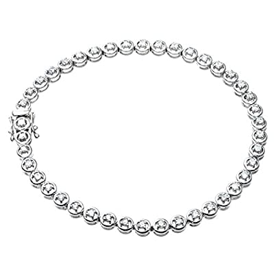 Ariel Round Brilliant Diamond 9ct White Gold Tennis Bracelet of 19cm