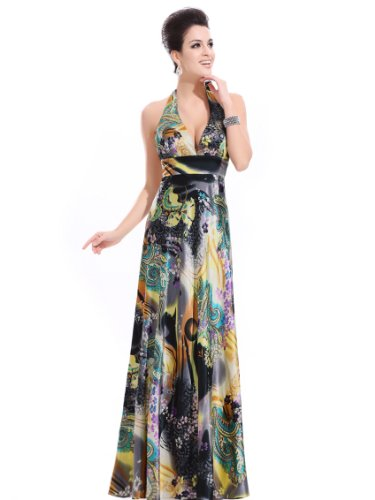 Ever Pretty Women's Water Swirl Paisley Halter Long Dress Size L Gold 09243GD12