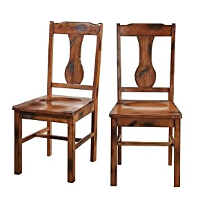 solid oak dining room chairs   Amazon.com - Solid Wood Dark Oak Dining Chairs, Set of 2 ...