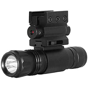 NcStar Red Laser Sight with Weaver Mount and Led Flashlight with Quick Release Combo (APFLS)