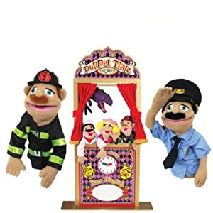 Melissa & Doug 2530 Deluxe Puppet Theater with Police Officer Puppet and Firefighter Puppet Bundle from Melissa & Doug