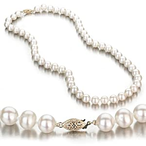 14K White Gold 7-7.5mm White Freshwater Cultured Pearl Necklace AA+ Quality Pearls, 18 Inch Necklace