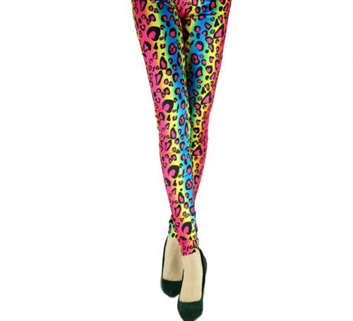 Stretchy Neon Leoapard Print 80s Fitness Leggings for sizes 6-10.