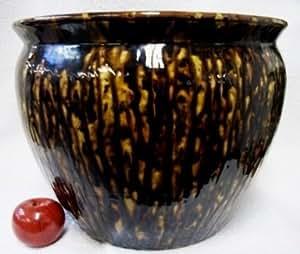 Tortoise shell brown porcelain fish bowl 16 for Fish bowl amazon