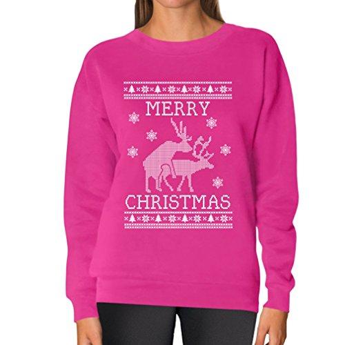 Teestars Women'S - Reindeers Humping Christmas Sweater Sweatshirt Large Pink