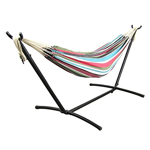 Sunnydaze Cool Breeze Cotton Double Brazilian Hammock & Stand Combo, 60 Inch Wide x 132 Inch Long