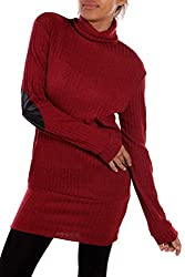 2LUV Women's Long Sleeve Turtleneck Sweater W/Elbow Patches Burgundy S (T4399)
