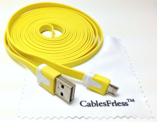 Cablesfrless Yellow 10Ft (10 Feet 10') Tangle Free Noodle Style Micro B Usb Charging / Data Sync Cable Fits Android Samsung Galaxy Htc Lg Pantech Blackberry Motorola Sony Zte