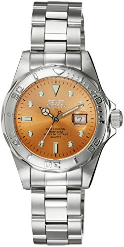 Invicta Pro Diver Women's Quartz Watch with Brown Dial  Analogue display on Silver Stainless Steel Bracelet 4872